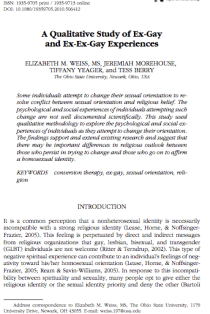 A Qualitative Study of Ex-Gay and Ex-Ex-Gay Experiences.