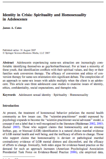 Identity in crisis: Spirituality and homosexuality in adolescence.