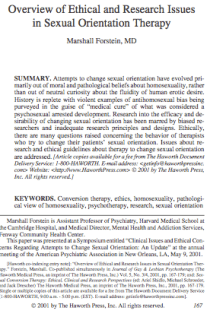 Overview of ethical and research issues in sexual orientation therapy.
