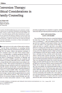 Conversion therapy: Ethical considerations in family counseling