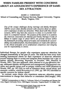 When families present with concerns about an adolescent's experience of same-sex attraction.