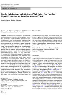 Family Relationships and Adolescent Well-Being: Are Families Equally Protective for Same-Sex Attracted Youth?