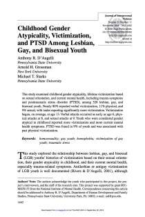 Childhood gender atypicality, victimization, and PTSD among lesbian, gay, and bisexual youth