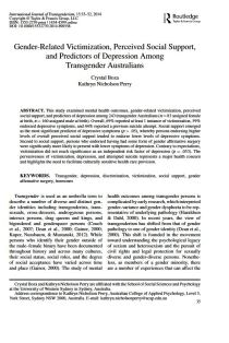 Gender-Related Victimization, Perceived Social Support, and Predictors of Depression Among Transgender Australians