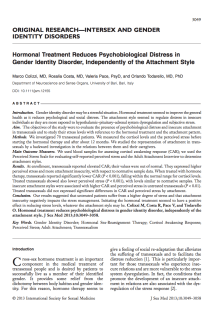 Hormonal treatment reduces psychobiological distress in gender identity disorder, independently of the attachment style