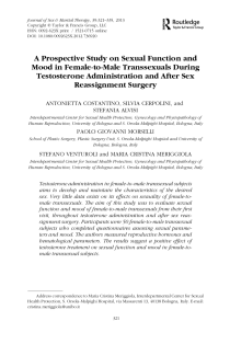 A prospective study on sexual function and mood in female-to-male transsexuals during testosterone administration and after sex reassignment surgery