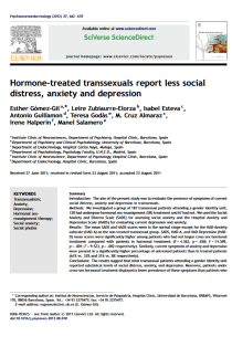 Hormone-treated transsexuals report less social distress, anxiety and depression