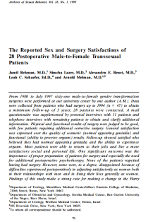 The reported sex and surgery satisfactions of 28 postoperative male-to-female transsexual patients