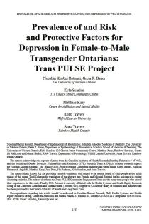 Prevalence of and risk and protective factors for depression in female-to-male transgender Ontarians