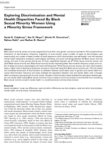 Exploring Discrimination and Mental Health Disparities Faced By Black Sexual Minority Women Using a Minority Stress Framework.