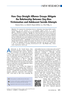 How gay-straight alliance groups mitigate the relationship between gay-bias victimization and adolescent suicide attempts.