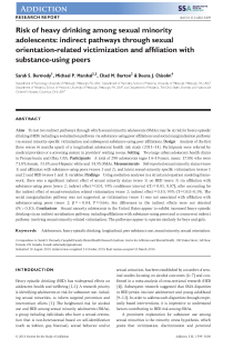 Risk of heavy drinking among sexual minority adolescents: indirect pathways through sexual orientation-related victimization and affiliation with substance-using peers.