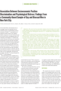 Association between socioeconomic position discrimination and psychological distress: findings from a community-based sample of gay and bisexual men in New York City.