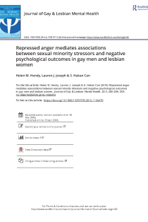 Repressed anger mediates associations between sexual minority stressors and negative psychological outcomes in gay men and lesbian women.