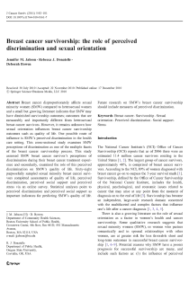 Breast cancer survivorship: the role of perceived discrimination and sexual orientation.