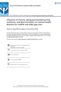 Influence of income, being partnered/married, resilience, and discrimination on mental health distress for midlife and older gay men.