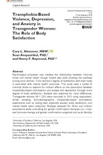 Transphobia-Based Violence, Depression, and Anxiety in Transgender Women: The Role of Body Satisfaction.
