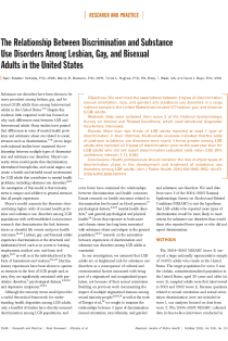 The relationship between discrimination and substance use disorders among lesbian, gay, and bisexual adults in the United States.