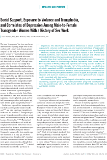 Social support, exposure to violence and transphobia, and correlates of depression among male-to-female transgender women with a history of sex work.