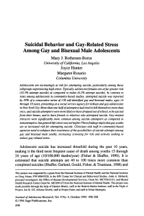 Suicidal behavior and gay-related stress among gay and bisexual male adolescents.