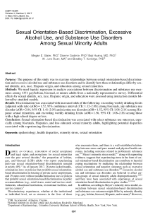 Sexual Orientation-Based Discrimination, Excessive Alcohol Use, and Substance Use Disorders Among Sexual Minority Adults.