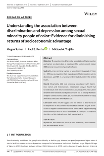 Understanding the association between discrimination and depression among sexual minority people of color: Evidence for diminishing returns of socioeconomic advantage.