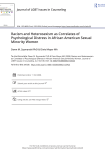 Racism and heterosexism as correlates of psychological distress in African American sexual minority women.