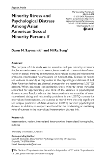 Minority stress and psychological distress among Asian American sexual minority persons.