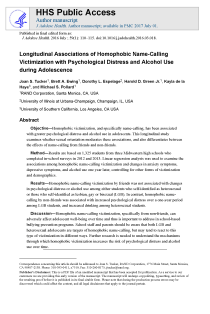Longitudinal Associations of Homophobic Name-Calling Victimization With Psychological Distress and Alcohol Use During Adolescence.