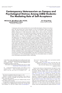 Contemporary heterosexism on campus and psychological distress among LGBQ students: the mediating role of self-acceptance.