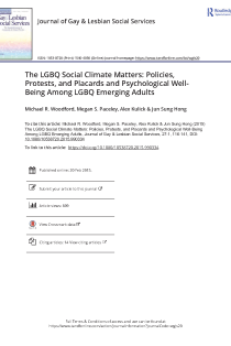 The LGBQ social climate matters: Policies, protests, and placards and psychological well-being among LGBQ emerging adults.