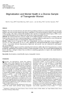 Stigmatization and Mental Health in a Diverse Sample of Transgender Women.