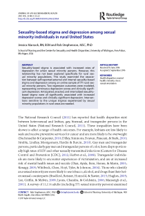 Sexuality-based stigma and depression among sexual minority individuals in rural United States.