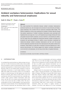 Ambient workplace heterosexism: Implications for sexual minority and heterosexual employees.