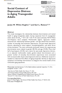 Social Context of Depressive Distress in Aging Transgender Adults.