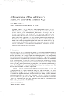 A Reexamination of Card and Krueger's State-Level Study of the Minimum Wage.