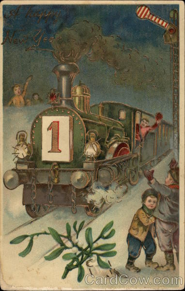 New Year Card Vintage Train And Children What Will Matter