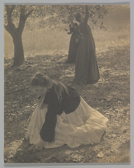 """The Orchard, 1902"", palladium print (in the style of Impressionism and ""ukiyo-e"" prints of Japan) by Clarence H. White (courtesy of MFA, Boston)"