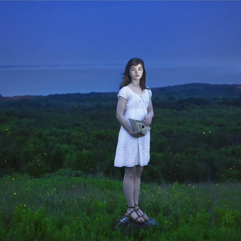 """""""Devin and the Fireflies, 2013"""" framed videograph from the series """"Gardening at Night"""" by Cig Harvey (courtesy of the artist and Drift Gallery)"""