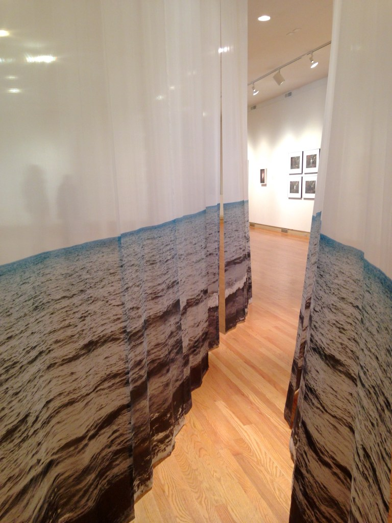 "Installation shot of ""Walking through Seascape, 2014"" archival pigment printed silk by Margaret (Peggy) Wright (courtesy of the artist and UIMA, Chicago) photo by Elin Spring"
