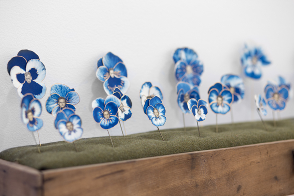"""""""Pansies, 2014"""" unique, one-of-a-kind, Cyanotype, liquid gilding, watercolor, vintage photographs of men, stick pin, by Caleb Cole (courtesy of the artist and Gallery Kayafas, Boston)"""
