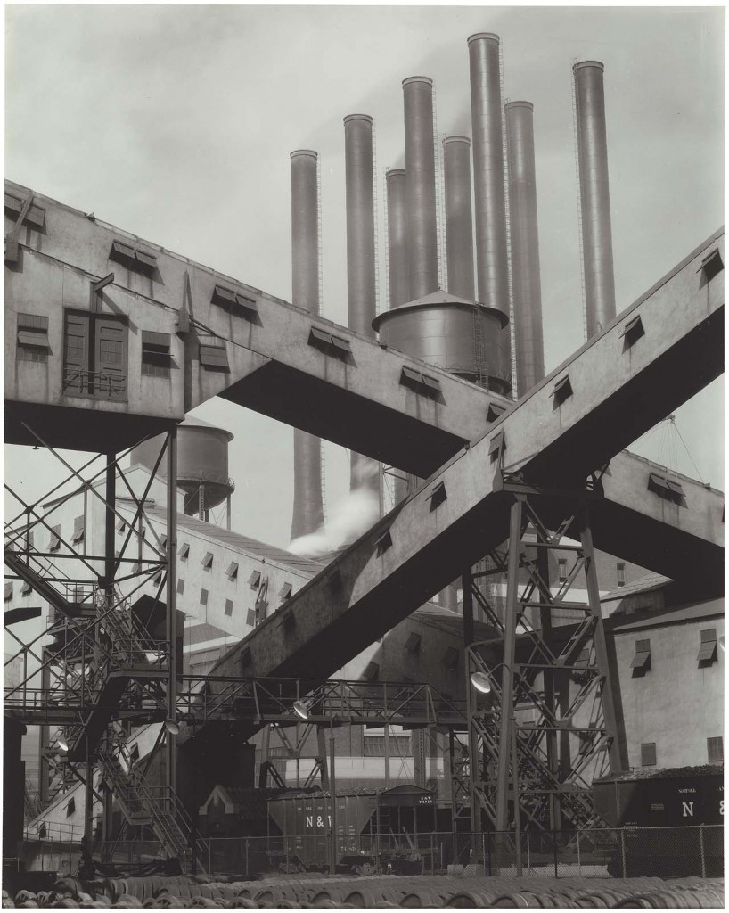 """Criss-Crossed Conveyors, Ford Plant, River Rouge, 1927"" gelatin silver print by Charles Sheeler from The Lane Collection, appeared in the MFA, Boston exhibit ""Charles Sheeler"" in 2003, curated by Karen Haas (courtesy of MFA, Boston)"