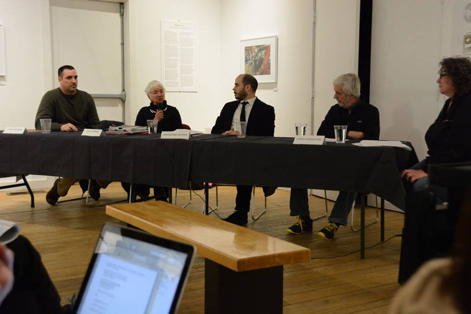 Griffin Museum panel discussion on making Photobooks with (L to R): Ryan Arthurs, Fran Forman, Raymond Adams, Christopher Chadbourne and Paula Tognarelli (moderator) held in February 2015 (photo by Silke Hase)