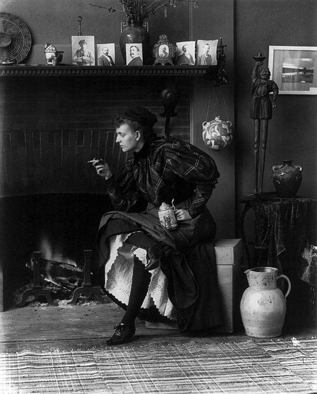 Self-portrait of Frances Benjamin Johnston in her Washington, D.C. studio, 1896.