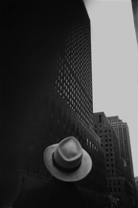 """""""Looking at the R.C.A. Building at Rockefeller Center, N.Y. 1949"""" gelatin silver print by Louis Faurer (courtesy of the Addison Gallery, Andover, MA)."""