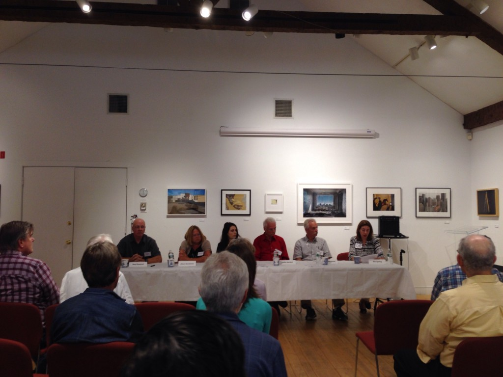 """""""What is your legacy and why should you care?"""" panelists (L to R): Neal Rantoul, Alison Nordstrom, Sarah Pollman, Leslie Bartlett and Tony Decaneas. Appearing to be delivering a last will and testament, I served as moderator, at far right (photo courtesy of the Griffin Museum)."""