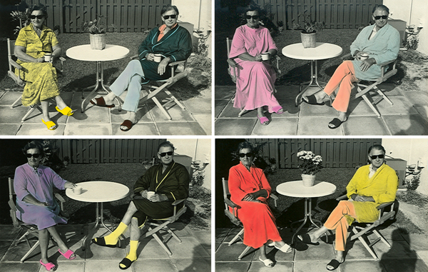 """""""Four Breakfasts, 1979/2015"""" silver gelatin prints hand-colored with Luma Dyes (unique) from the series My Parents' Patio by Nadine Boughton (courtesy of the artist and Trident Gallery, Gloucester, MA)"""