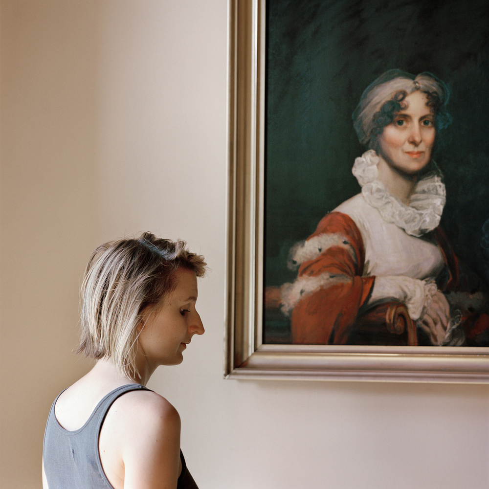 """""""Edith, with a portrait of her ancestor"""" from the series Let Virtue Be Your Guide by Frances F. Denny (courtesy of the artist and ClampArt, NYC)."""