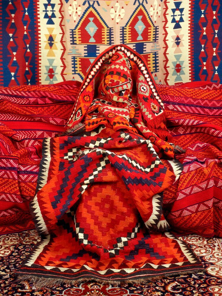 """""""Kilim, 2012"""" from the series Anonymous Women (Draped) by Patty Carroll (courtesy of the artist and 555 Gallery, Boston)."""