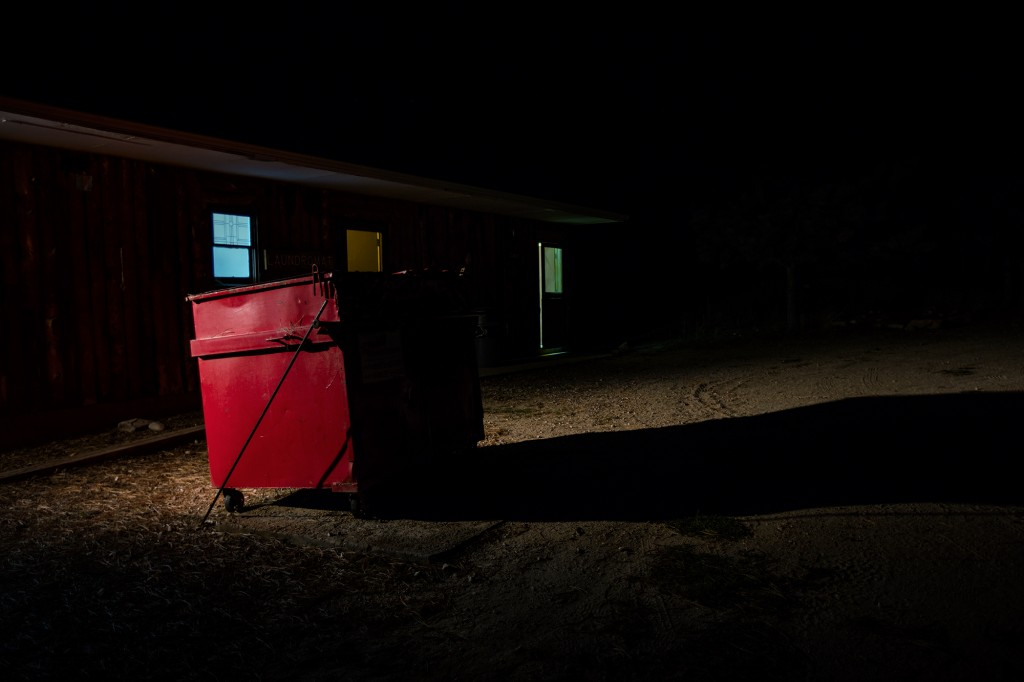 """Red Dumpster"" from the series JCC Ranch by Remi Thornton (courtesy of the artist and Miller Yezerski Gallery, Boston)."